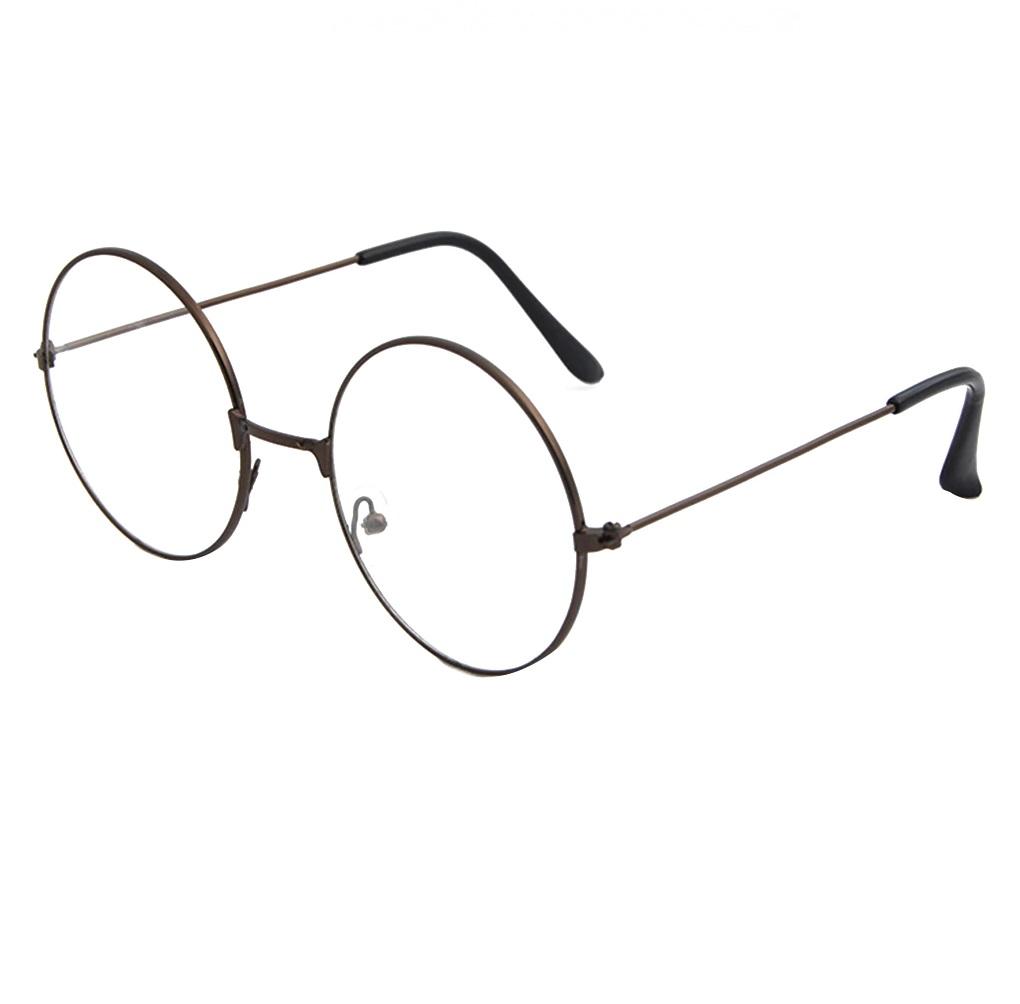 Кръгли очила кафяво бронзова рамка