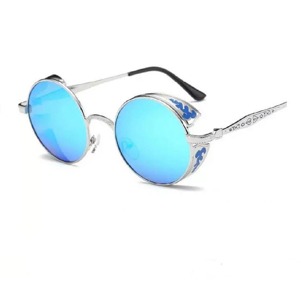 Слънчеви очила сини кръгли стъкла