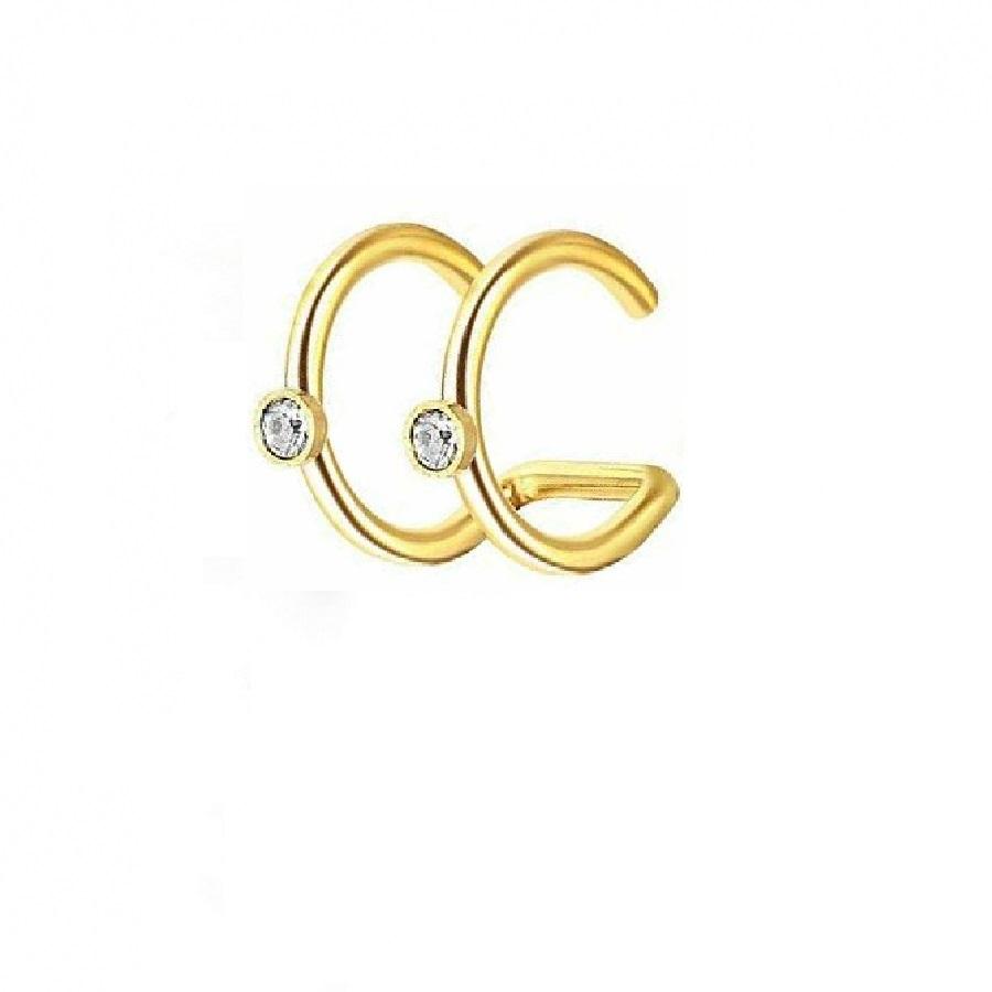 Обица имитация на злато 2 халки с кристали