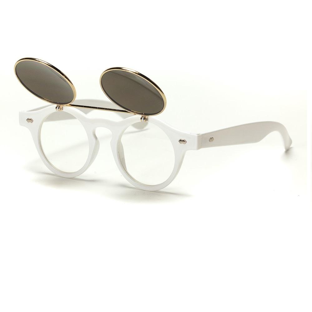 Слънчеви очила с вдигаща се предна част бели рамки