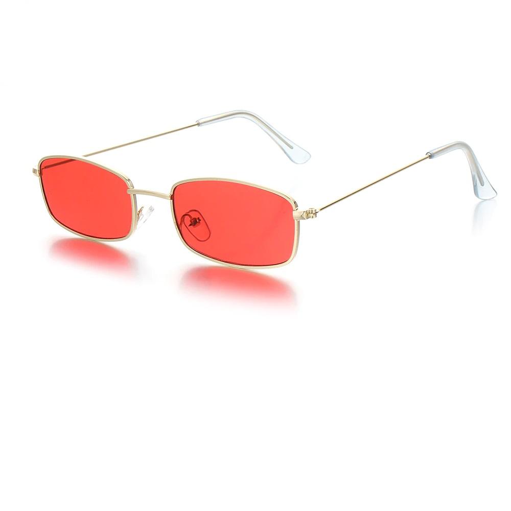 Червени правоъгълни очила