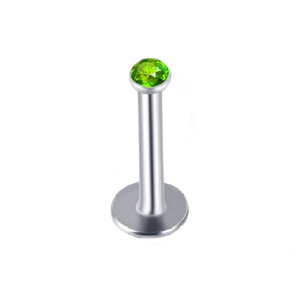 Обица пиърсинг за устна зелен кристал