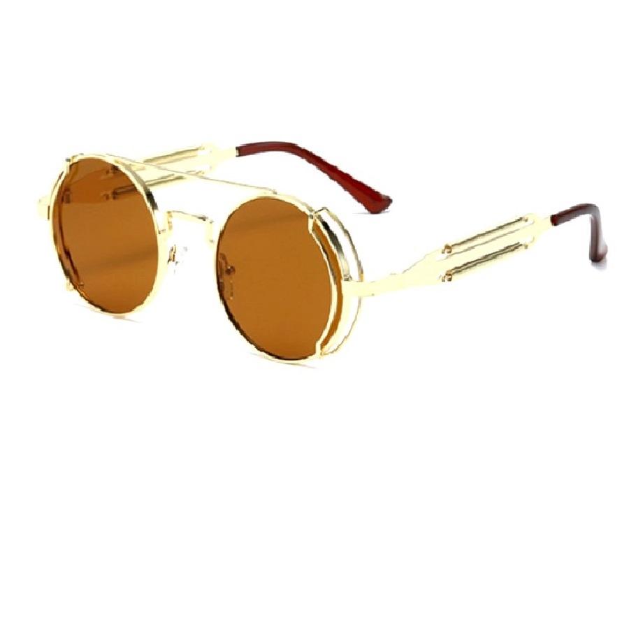 Кафяви очила жълти рамки с пружини и метал