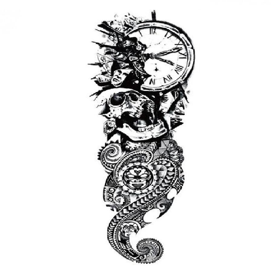 Временна татуировка, черепи и рози