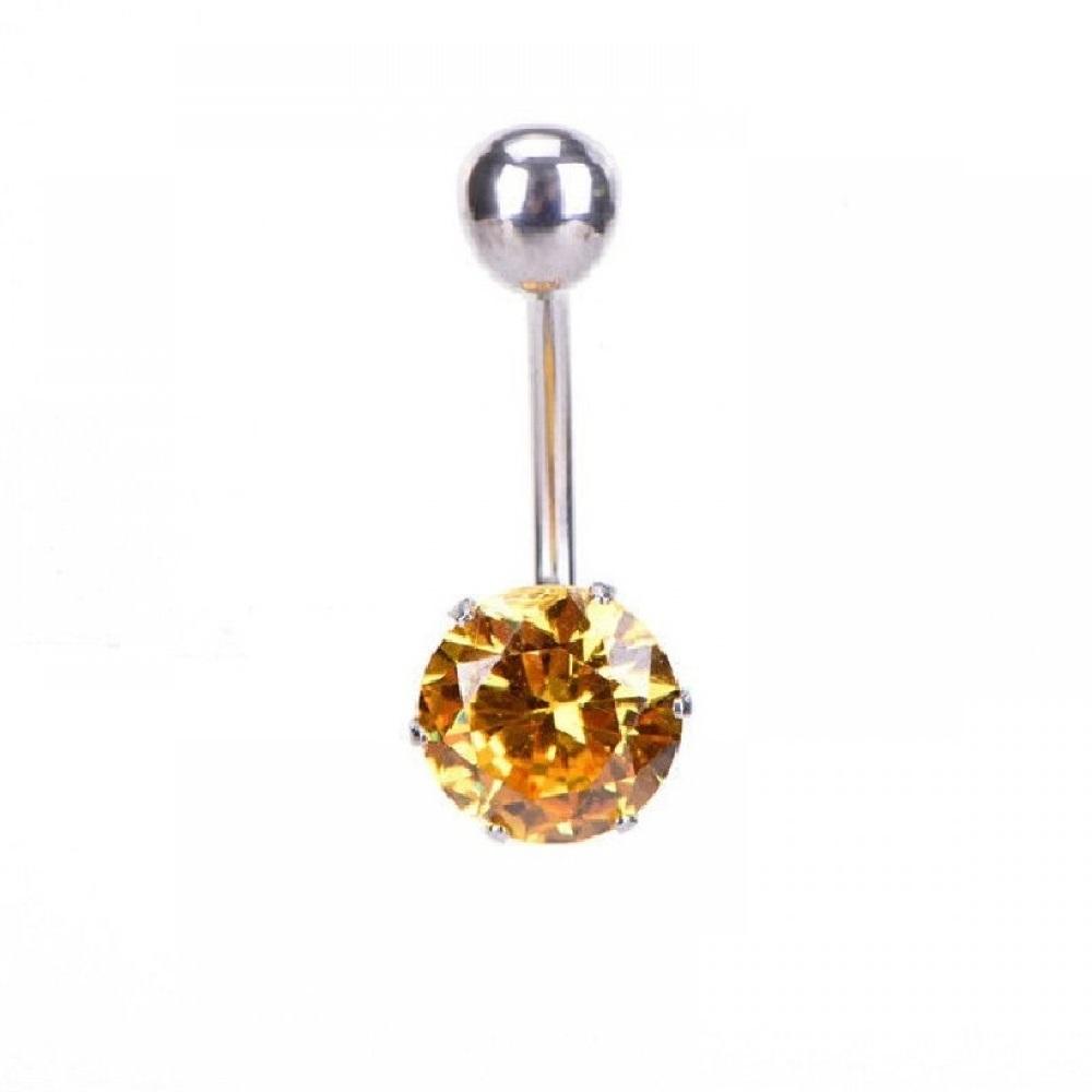 Анти алергична обeца 316L стомана с жълт кристал