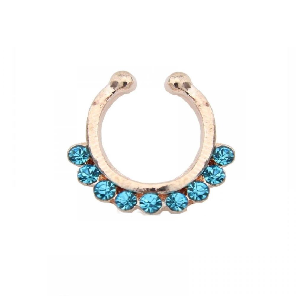 Бижутерия обеца за носа със сини кристали