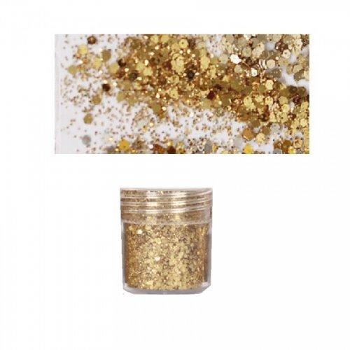 Брокат с пайети в златно