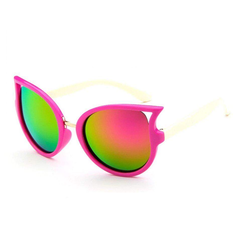 Детски слънчеви котешки очила с бели рамки