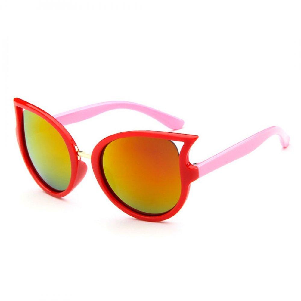 Детски слънчеви котешки очила с червени стъкла и розови дръжки