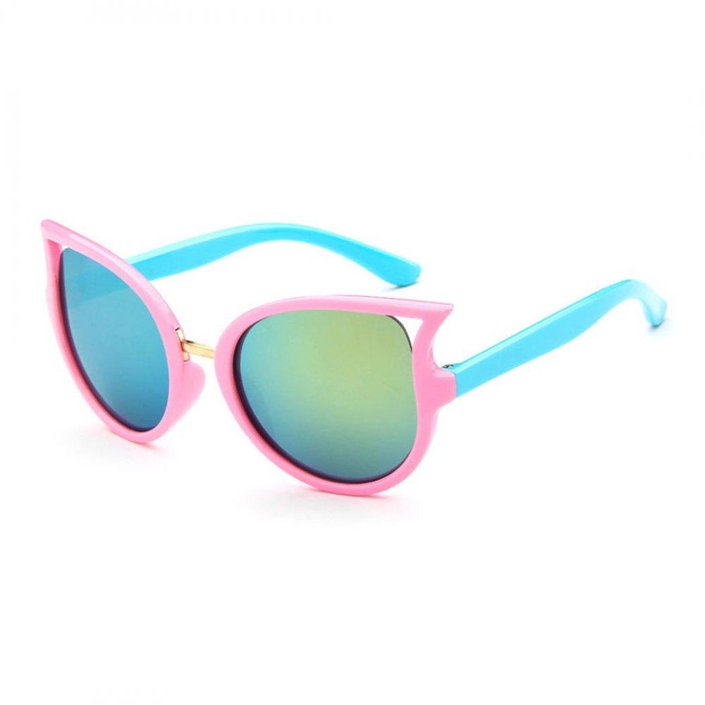 Детски слънчеви котешки очила със сини рамки