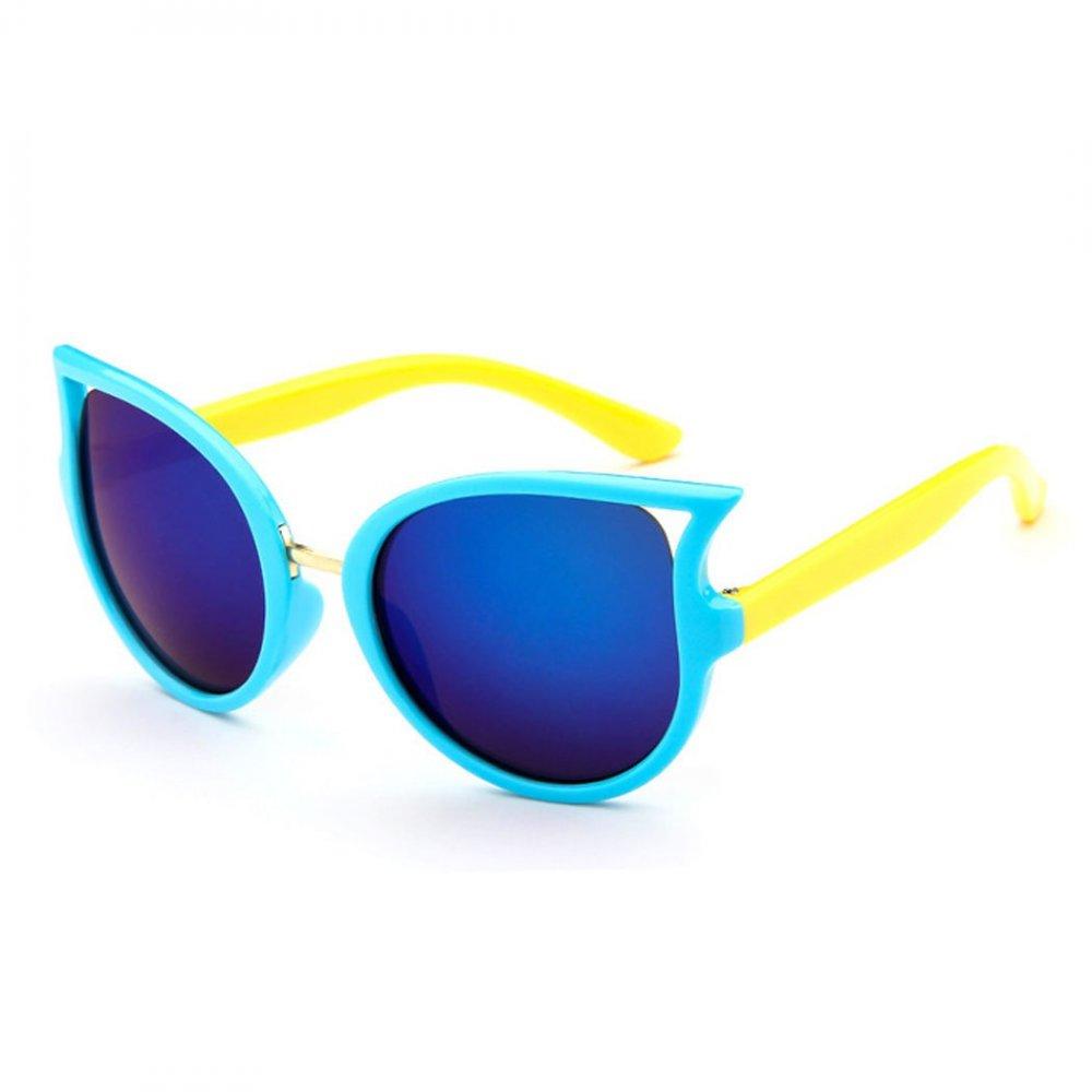 Детски слънчеви котешки очила със сини стъкла и жълти рамки