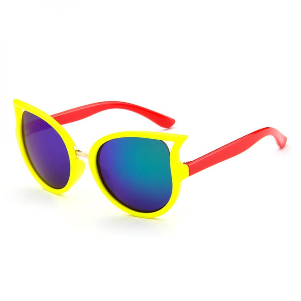 Детски слънчеви котешки очила в червено и жълто