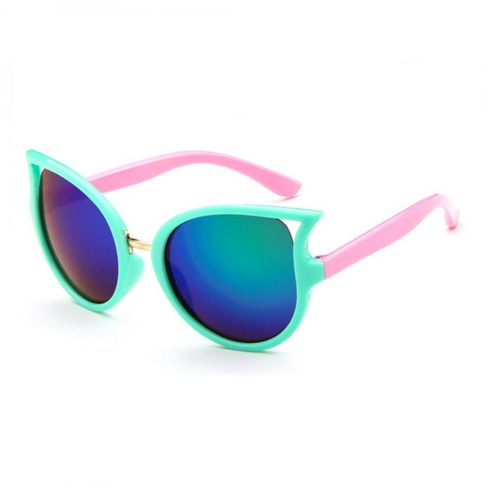 Детски слънчеви котешки очила в зелено и розово