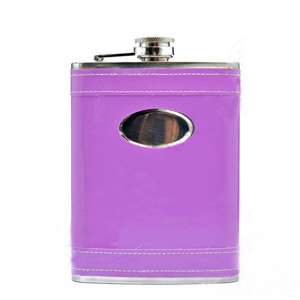 Джобна бутилка в лилава кожа