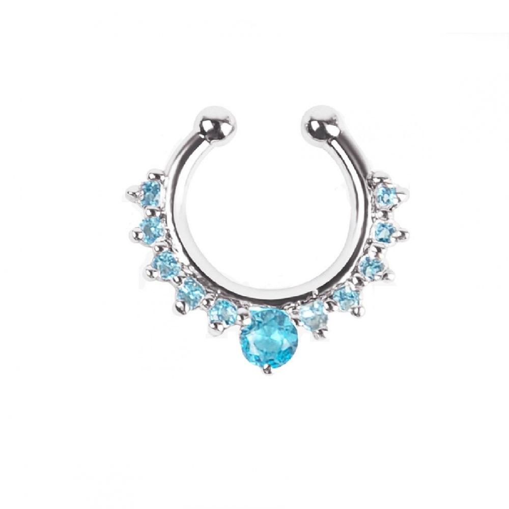 Индийска обеца сини кристали, имитация на сребро