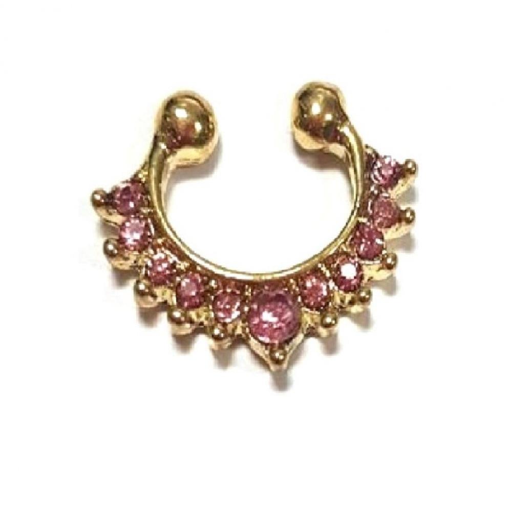 Индийски обеци с кристалчета, имитация на злато