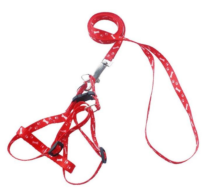 Повод с нагръдник за домашни животни - червен