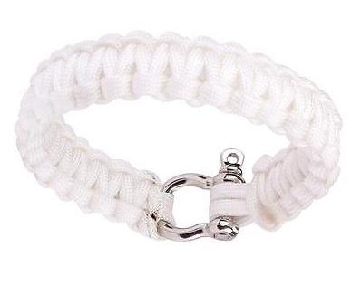 Сървайвър гривна с стоманена закопчалка - бяла