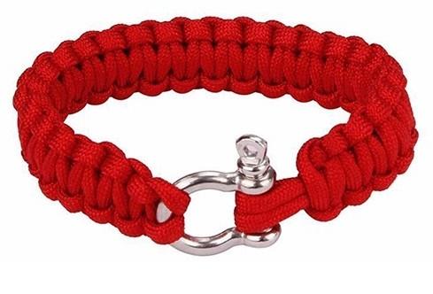 Сървайвър гривна с стоманена закопчалка - червена