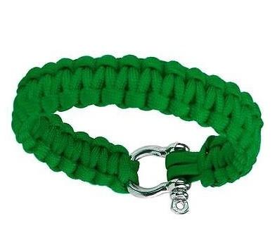 Сървайвър гривна с стоманена закопчалка - зелена