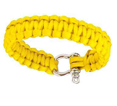 Сървайвър гривна с стоманена закопчалка - жълта