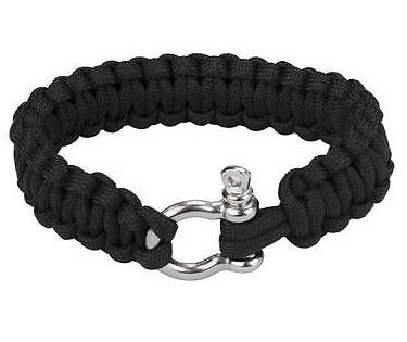 Сървайвър гривна с стоманена закопчалка - черна