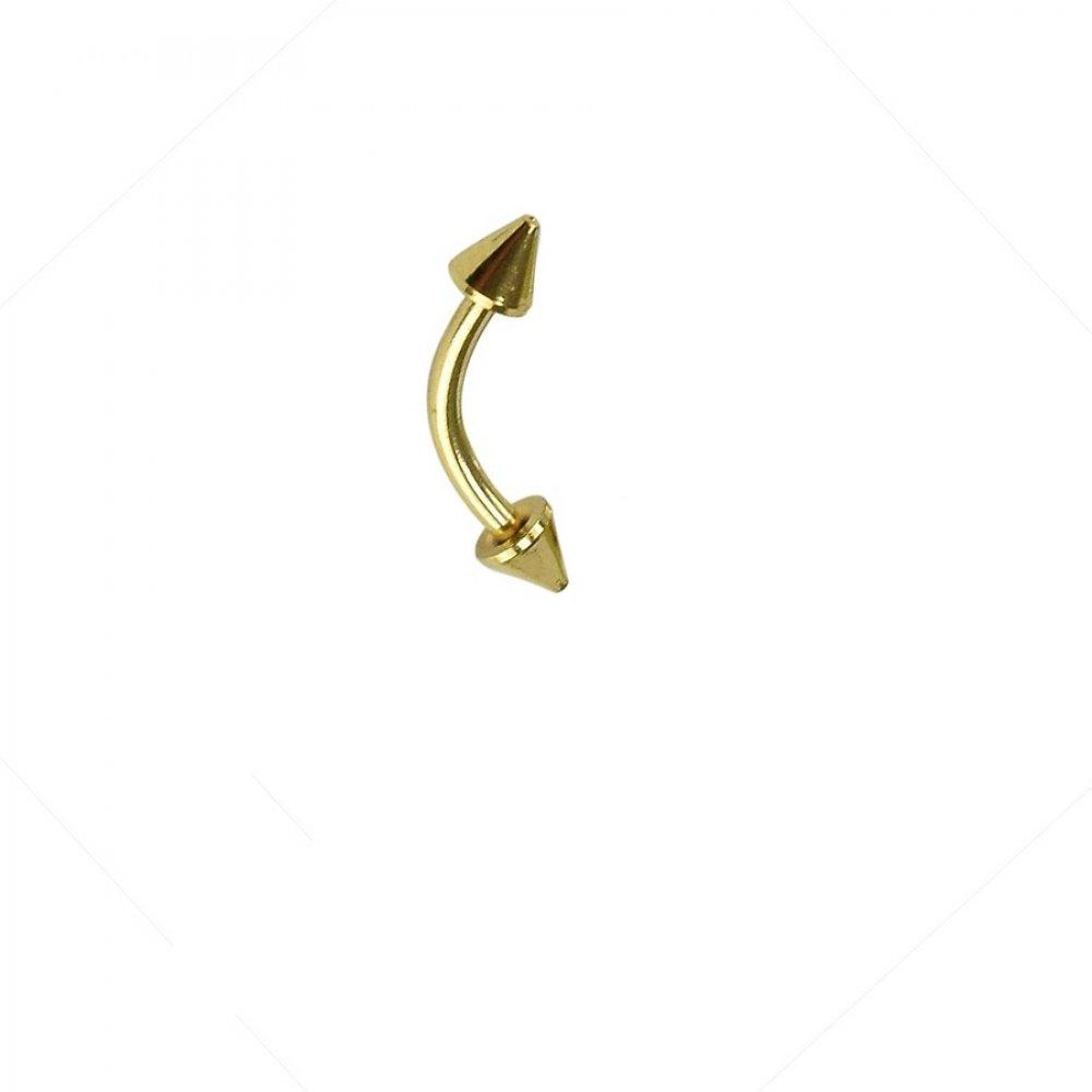 Къса обеца за вежда имитация на злато