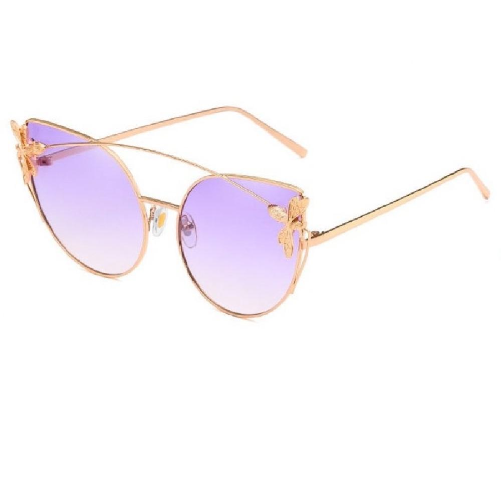 Котешки лилави очила с муха на рамките
