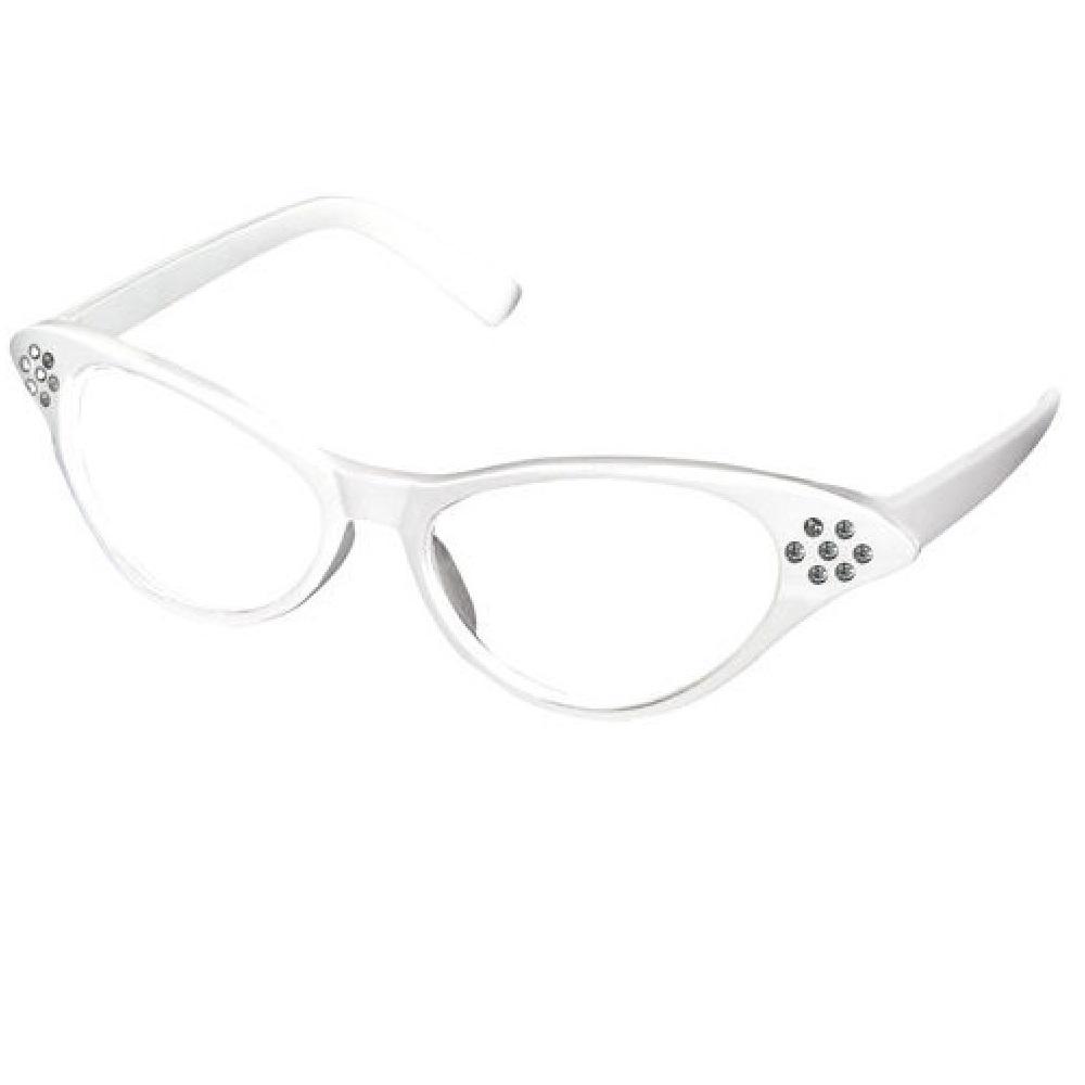 Котешки очила бели рамки с кристали