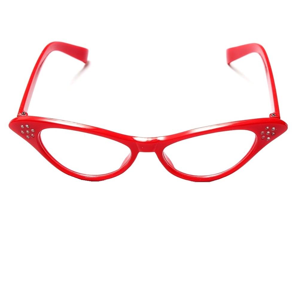 Котешки очила с кристали червена рамка