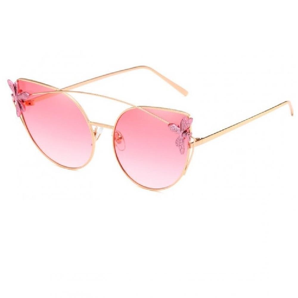 Котешки розови очила с розова муха