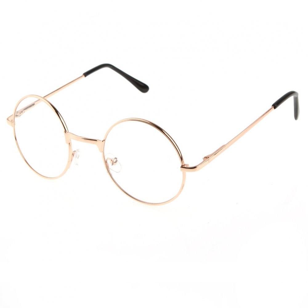 Кръгли прозрачни очила жълти метални рамки