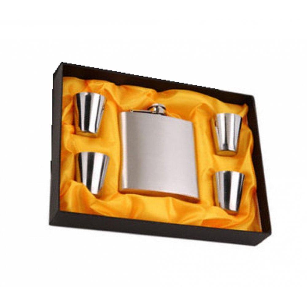 Луксозен комплект метално шише с 4 чаши