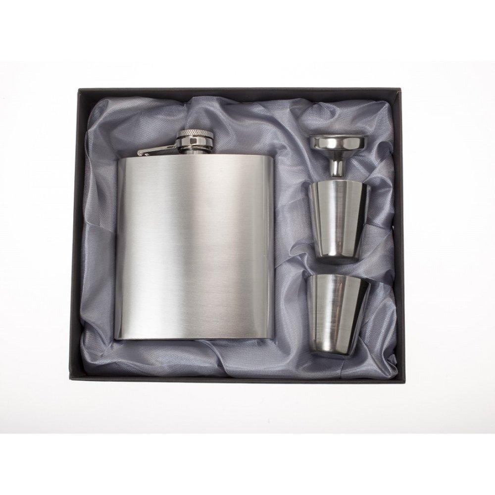 Луксозен комплект метално шише с чаши