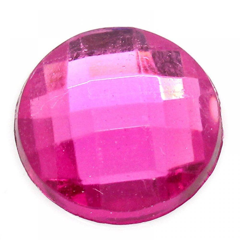 Голям кръгъл камък за нокти в розово
