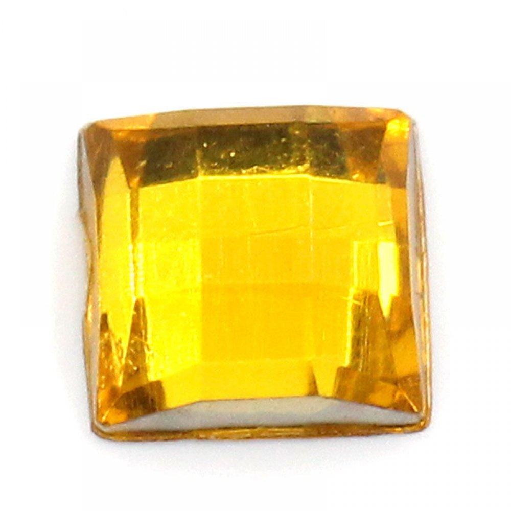 Голям квадратен камък за нокти в жълто