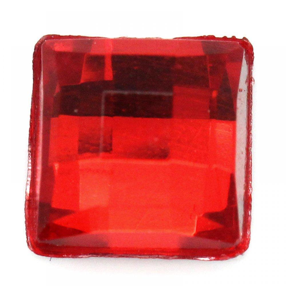 Голям квадратен камък за нокти в червено