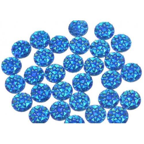 Големи релефни кръгчета за декорация на нокти в тъмно синьо