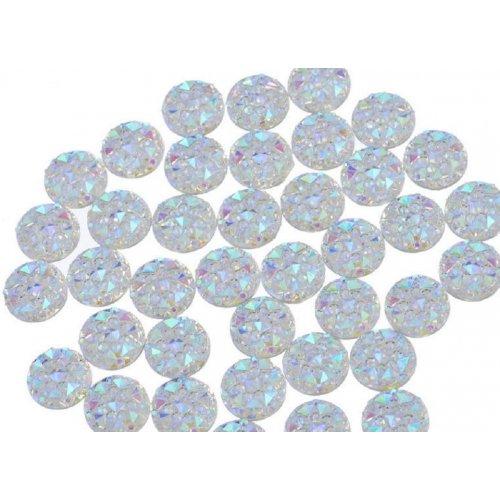 Големи кръгчета за декорция на нокти в преливощо бяло