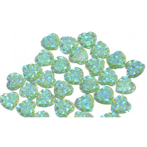 Големи елементи сърце за декорация на нокти зелени