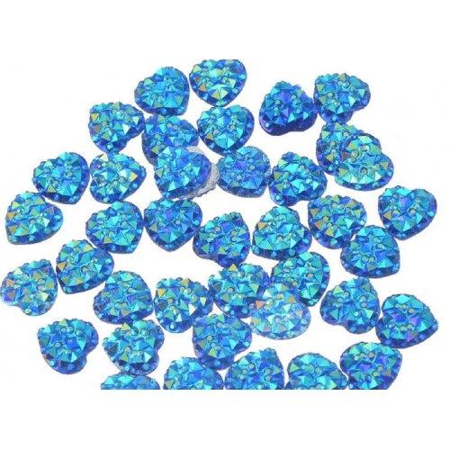 Големи елементи във вид на сърце за декорация на нокти тъмно сини