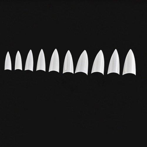 Бели изкуствени нокти Стилето