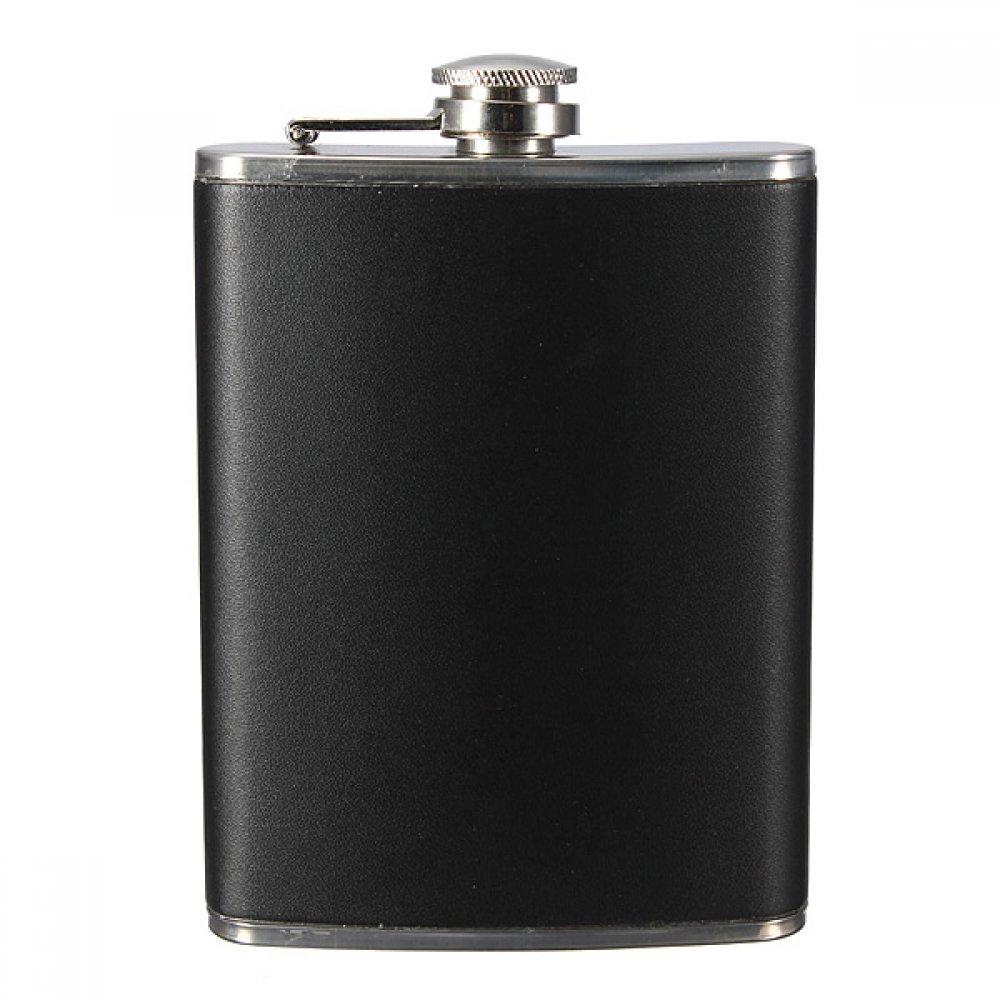 Метална бутилка в черна кожа