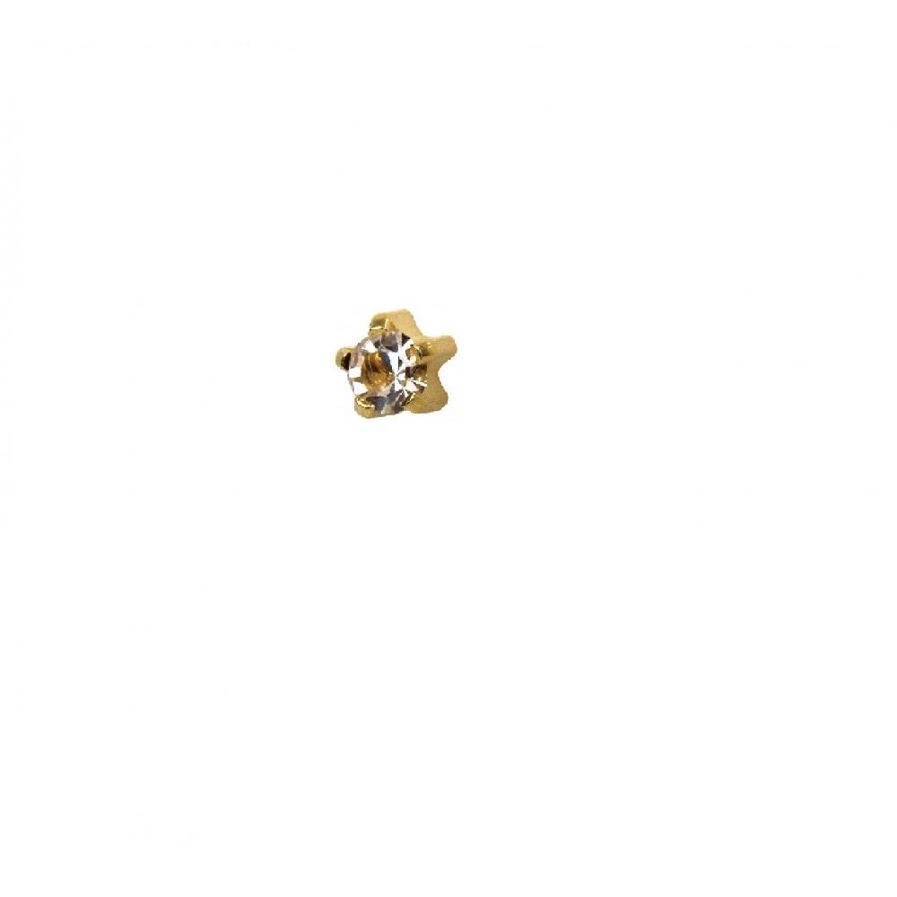 Мини обеци медицинско злато с бял кристал