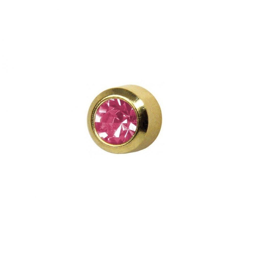 Обеци медицинско злата розов кристал