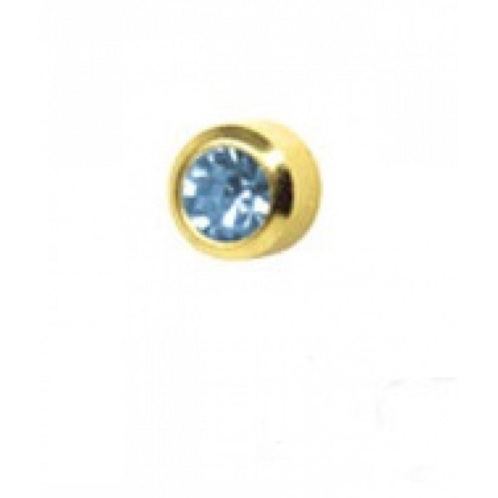 Обеци медицинско злата светло син кристал