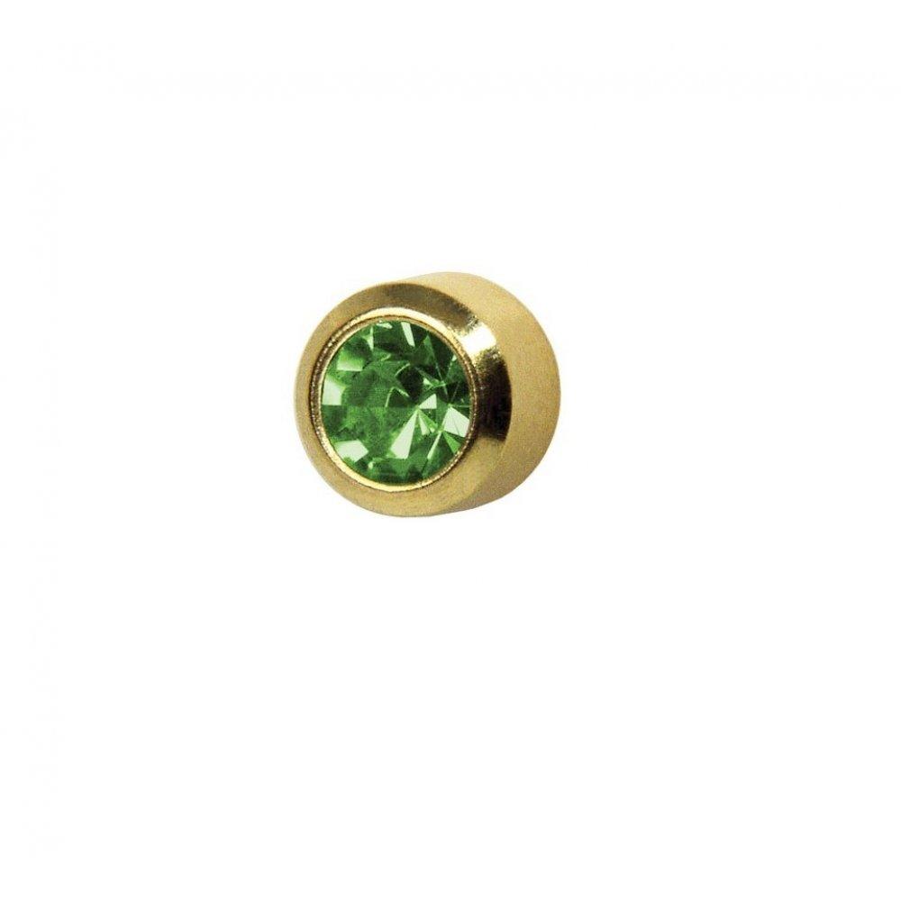 Обеци медицинско злата светло зелен кристал