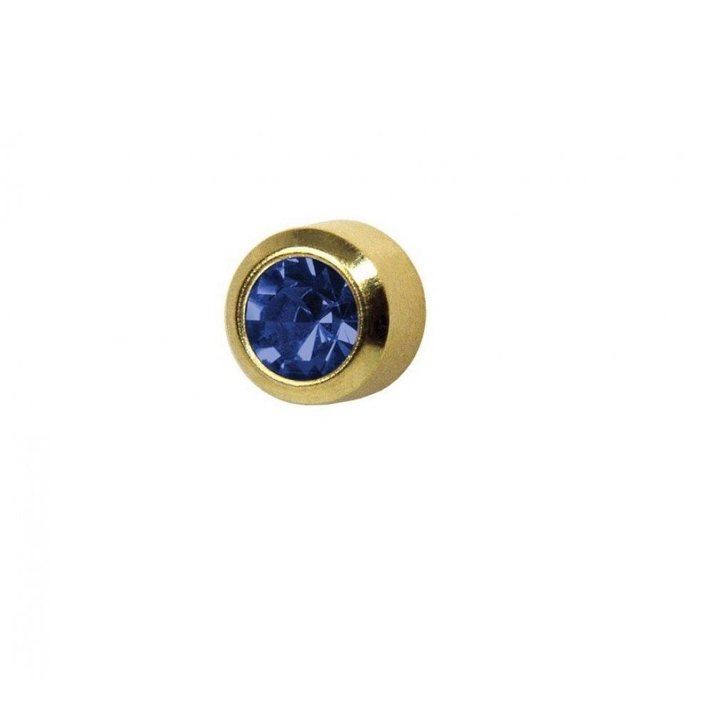 Обеци медицинско злата син кристал