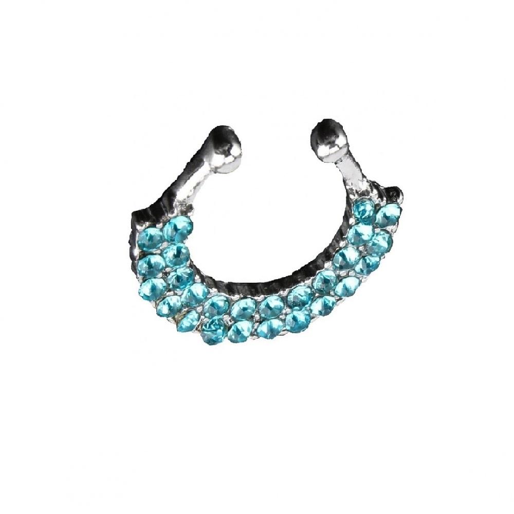 Обица за носа със сини кристали