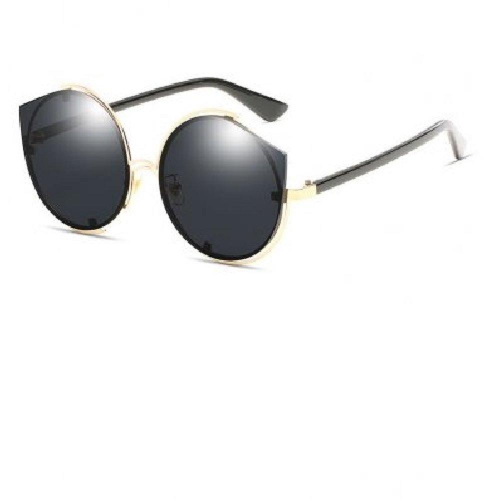 Огледални черни котешки очила с кръгъл дизайн